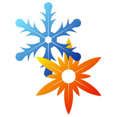 Sun snowflake air conditioner heating cooling symbol