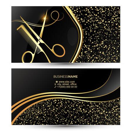 Beauty salon and hair stylist business card unique beautiful golden design