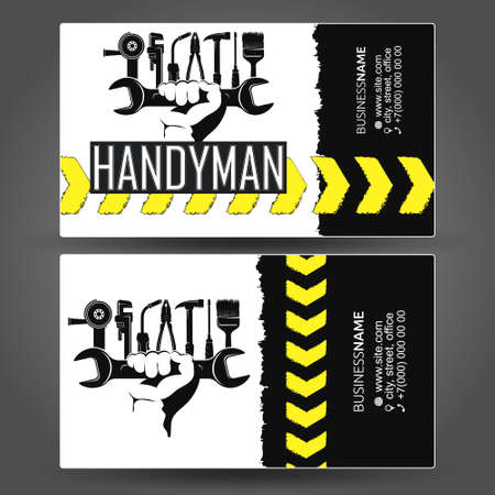 Handyman business card hand with tool 向量圖像