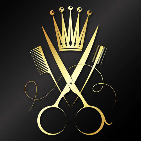 Gold scissors and crown beauty salon symbol