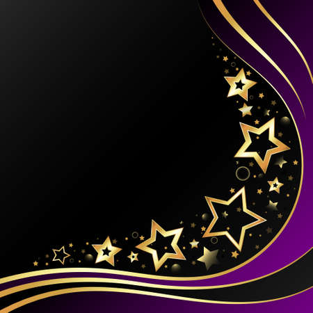 Golden lines waves and stars on black background beautiful design 向量圖像