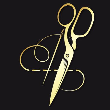 Golden needle with thread and scissors symbol 向量圖像
