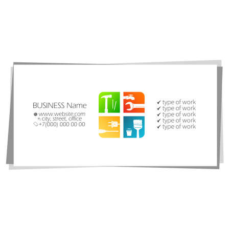 Eco air conditioning in home business card concept