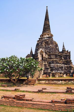 verticals: Temple Ruins In The Former Capital of Thailand in Ayutthaya Thailand