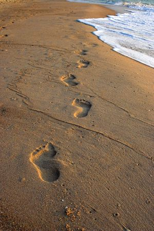 Footprints in the sand ,Gulf of Thailand Stock Photo - 882022