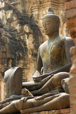 buddhist structures: Buddha at Phra Prang Sam Yod, Thailand Stock Photo