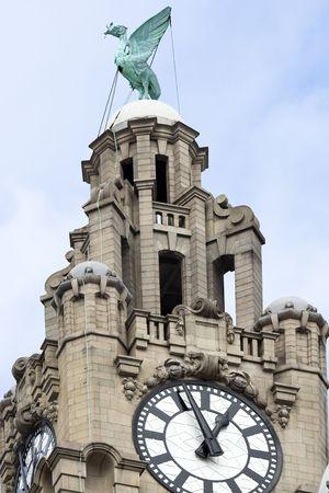Liver Building cloe up Liverpool Merseyside England photo