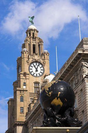 merseyside: Costruire il fegato e globo, Liverpool, Merseyside, Inghilterra