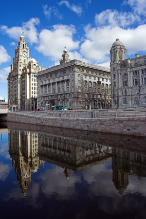 liverpool: The new canal across the front of the Liverpool pierhead Stock Photo