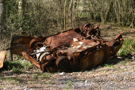 eyesore: Upside down rusting car in a wood Stock Photo