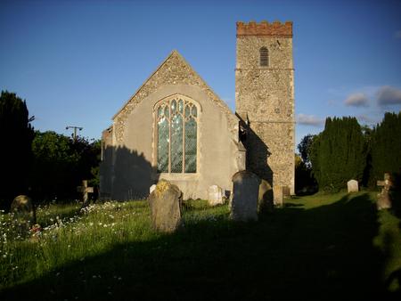 churchyard: Suffolk church and churchyard Stock Photo