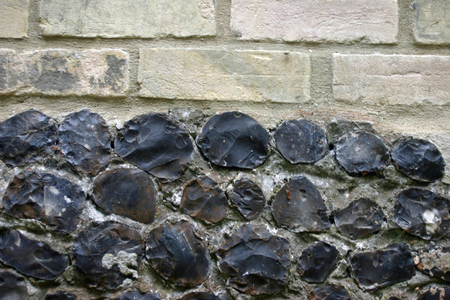 flint: White bricks and knapped flint wall