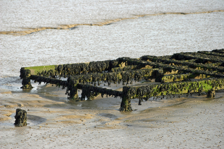burnham: Derelict jetty on river