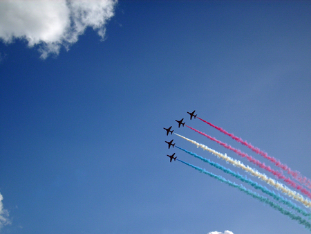 raf: RAF Red Arrows display team in flight Stock Photo