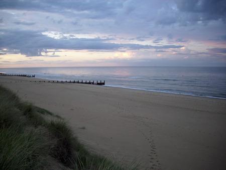 breakwaters: Beach, breakwaters and sea Stock Photo