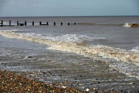 breakwater: Beach, breakwater and sea