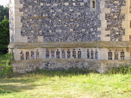 ecclesiastical: Ornamental flint in church wall