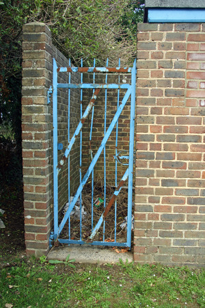 conveniences: Brick built closed park toilets with a rusted blue metal gate