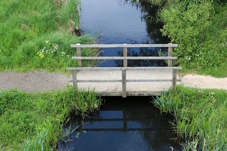 Footpath crossing a stream using a wooden bridge with vegetation either side and viewed from above.