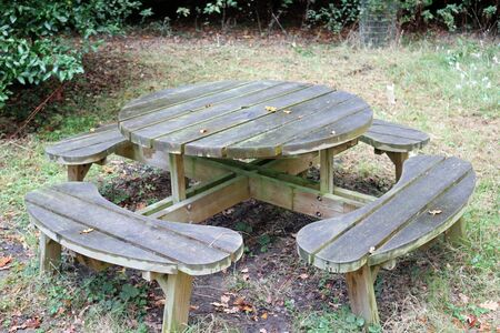 Round wooden picnic table with rounded seats on grass with soil underneath and shrubs in the background.