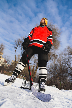 icehockey: High goalie guarding the gates of their enemies Stock Photo