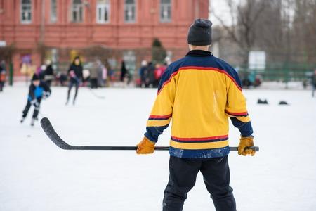 icehockey: amateur hockey team plays on the ice Stock Photo