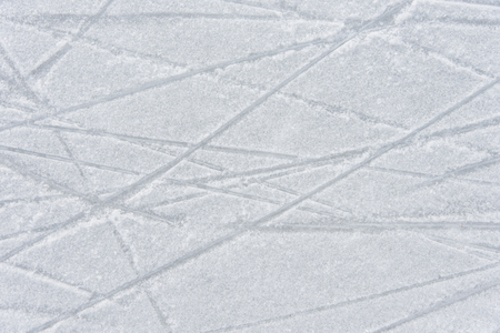 a trace on the ice left by skates on the rink Stock Photo