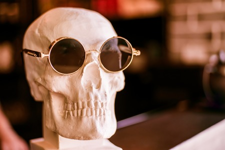 skull in sunglasses is on the shelf Stock Photo