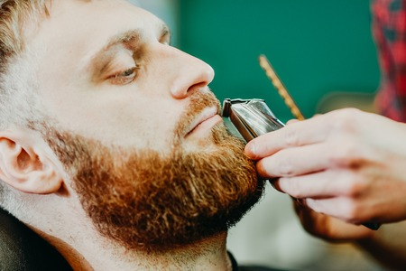 young guy hairdresser cuts beard to man in salon Banque d'images - 123972256