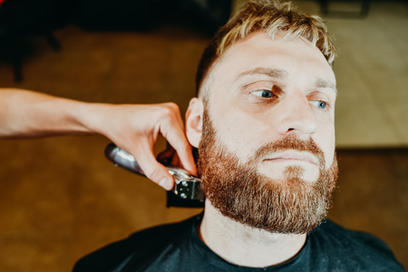 young guy hairdresser cuts beard to man in salon Banque d'images - 123972260