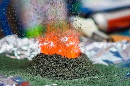 chemische Reaktion von Ammoniumdichromat, wenn es auf der Folie in Brand gesetzt wird
