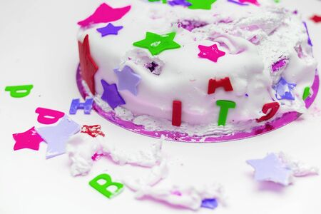 a birthday cake for a little baby who broke it 写真素材 - 131688515