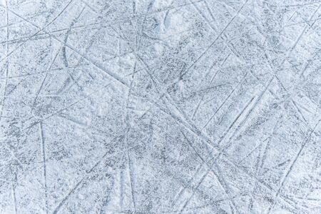 a trace on the ice left by skates on the rink Banco de Imagens