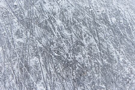 a trace on the ice left by skates on the rink 版權商用圖片