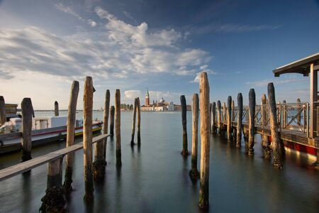 A long exposure photograph of the view from San Marco Square in Venice, Italy.