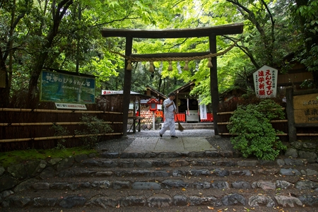 Kyoto, Japan - April 24, 2018 A man sweeping in front of a traditional Japanese Shinto gate, called a Torii. These gates are commonly found at the entrance to a Shinto shrine.