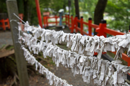 Random fortunes, known as o-mikuji, written on strips of paper at a Shinto shrine in Kyoto, Japan. Редакционное