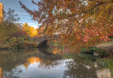 Gapstow bridge in Central Park, New York City in late autumn 写真素材