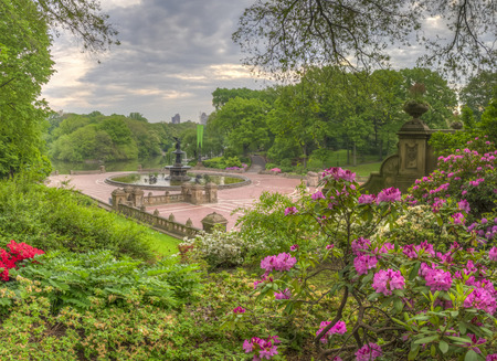 Bethesda Terrace overlooks the Lake and as well as the wooded shores of the Ramble.