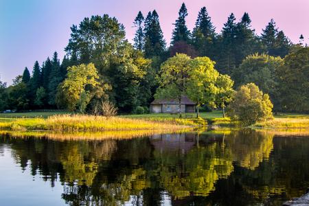 株式会社キャバン アイルランドの Killykeen 森林公園で森の中の家。 写真素材