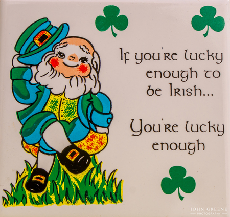 shamrock: Lucky Irish leprechaun and shamrocks.