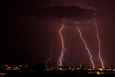 lightning strike: Lightning strike over Bangkok. Stock Photo