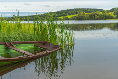 irish countryside: Calm peaceful tranquil lake in Ireland. Stock Photo