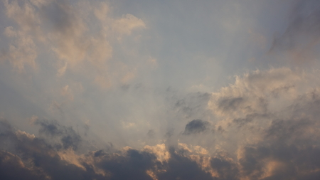 Clouds in the sky. Various shapes, sizes, and scenes. Forest, trees, treetops at sunset. Dramatic and thematic images perfect for use as a background. Reklamní fotografie