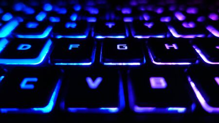 Gaming Keyboard Front View Purple Blue Lights