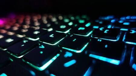 Gaming Keyboard Rainbow Led Color Lights Display Red Green Yellow Blue Cyan Reklamní fotografie