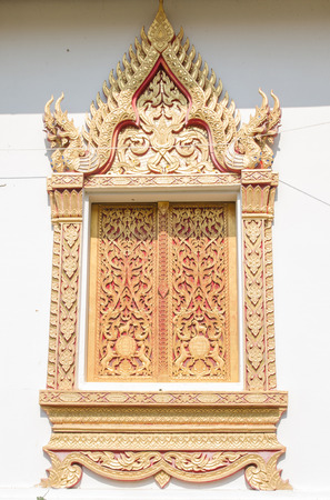 Thai texture in wooden window photo