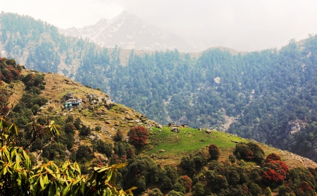 trecking: Panorama with small blue house in himalayas  Triund Mountain  Himalaya  India