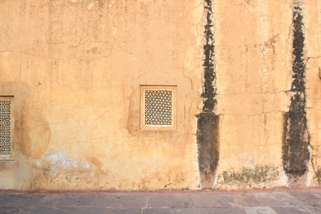 amber fort: Old Yellow Wall of Amber Fort in Jaipur  India