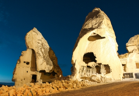 intresting: Nature Houses in Cappadocia at night time  Goreme  Turkey